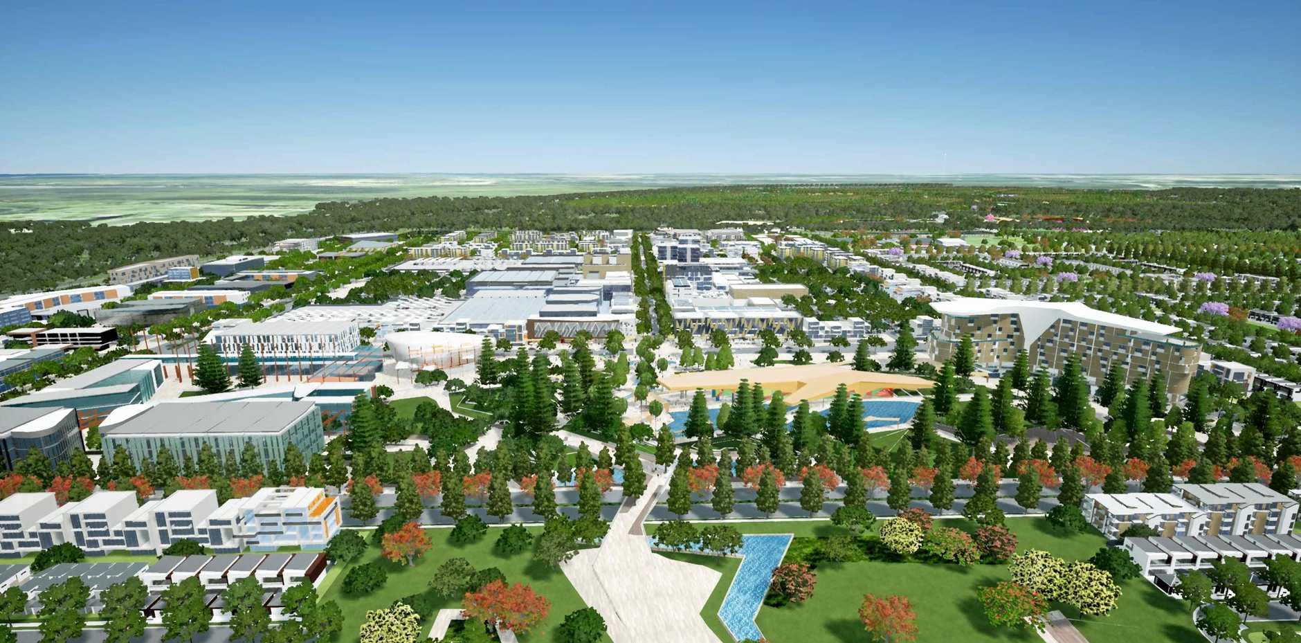 FUTURE: A render of the future Aura city centre at Caloundra South.