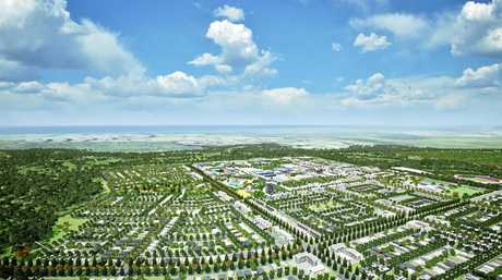 FUTURE: A render of the future Aura central precinct at Caloundra South.