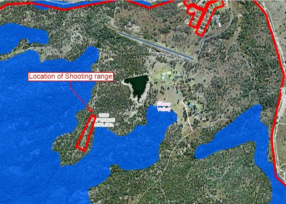 TRIGGER HAPPY: Map showing the Remnant Vegetation Area (blue) on-site at Cherrabah Resort and the proposed location for the long rifle and handgun range.