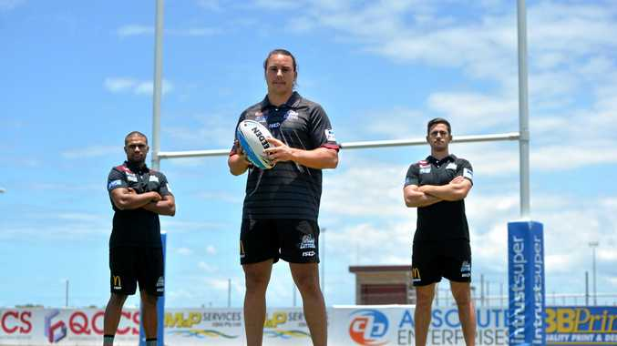 Newly unveiled Mackay Cutters captain Tom Murphy (front), with deputies, Jayden Hodges (left) and Jack Joass.