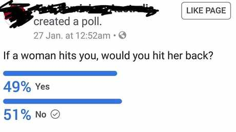 A screenshot of the Facebook poll asking if it's OK to hit women.