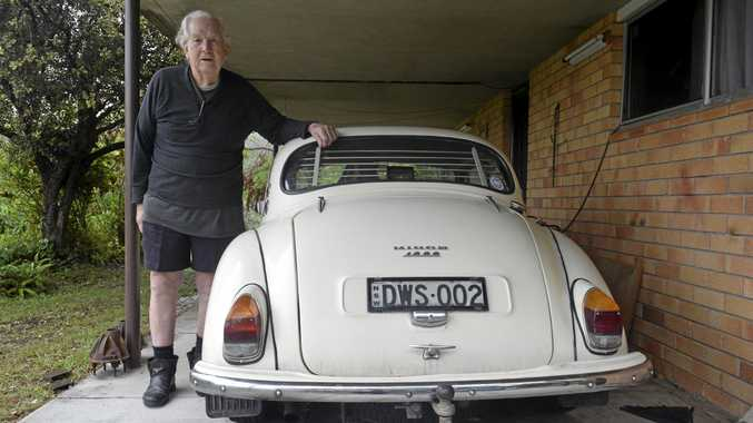 SAFELY HOME: Denis Seal with his pride and joy custom Morris Minor.