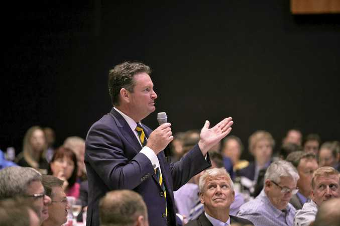 TSBE executive chairman Shane Charles asks a question of Prime Minister Malcolm Turnbull.
