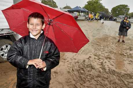 Jackson Jeffries, 8, from Ipswich, revels in the weather. Annual Toowoomba Swap Meet. February 2018