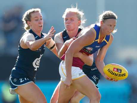 Lutkins in action for the Brisbane Lions. Photo: Getty Images.