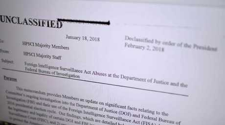 The Republican memo released by Congress is displayed on a journalist's computer screen at a newsroom in Washington DC.  Picture:  AFP