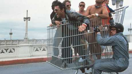 What could possibly go wrong? The famous shopping trolley scene from Jackass: The Movie. Picture: Alamy