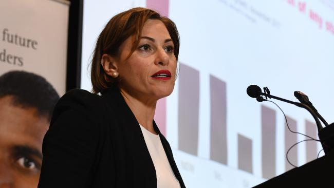 Queensland Deputy Premier, Treasurer Jackie Trad hands down the state's Mid-Year Economic and Fiscal Outlook 2017/18 in Brisbane, Monday, December 18, 2017. (AAP Image/Dan Peled) NO ARCHIVING