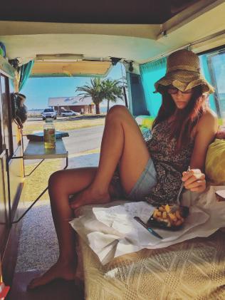 Chrissy started her vanlife journey in an old Nissan she nicknamed The Tortoise. Picture: Brisbanegirlinavan