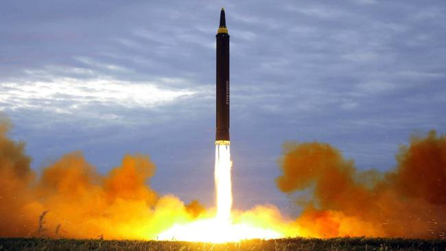 North Korea test-launches a Hwasong-12 intermediate range missile in Pyongyang. Picture: KCNA/KNS via AP