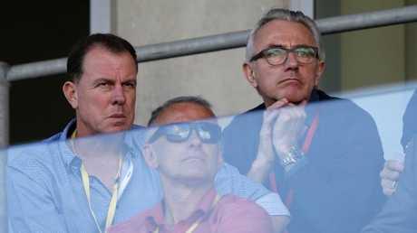 New Socceroos coach Bert van Marwijk watches on. (AAP Image/Darren Pateman)