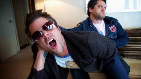 Knoxville and producer Jeff Tramaine in Sydney promoting Jackass 2 in 2006. Picture: News Corp