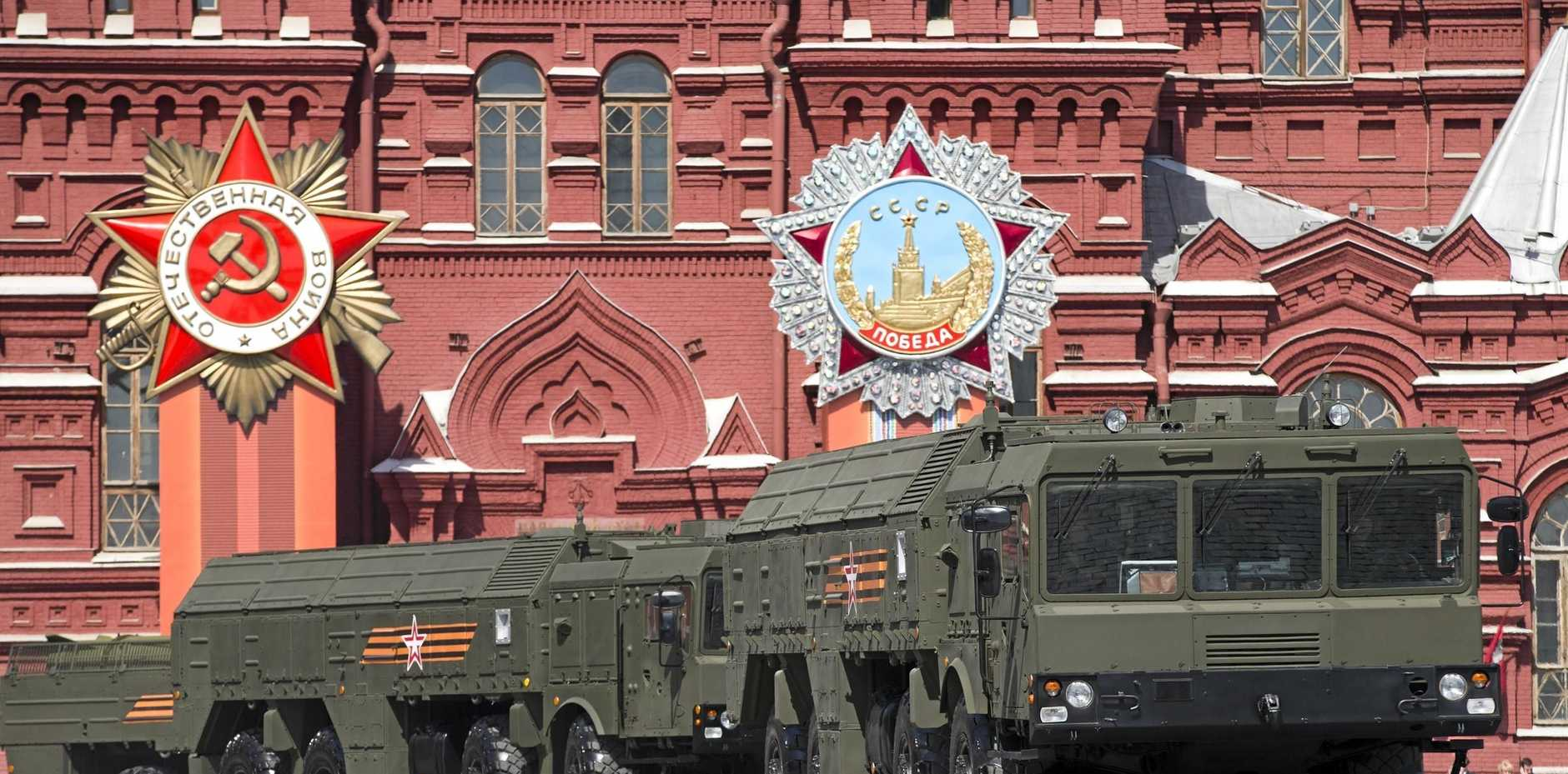Iskander missile launchers are driven during the 2015 Victory Parade marking the 70th anniversary of the defeat of the Nazis in World War II, in Red Square, Moscow. The launchers are capable of carrying nuclear warheads.