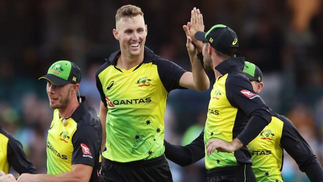 Billy Stanlake celebrates taking his second wicket against New Zealand.
