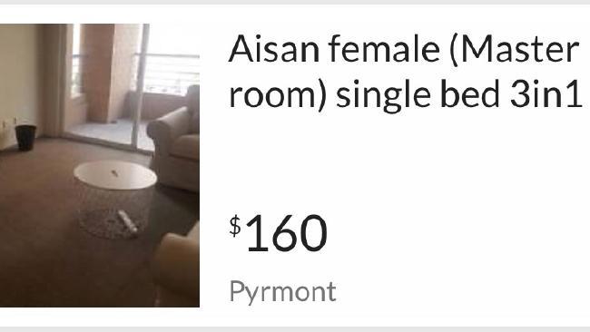 A gumtree ad seeking an Asian female.