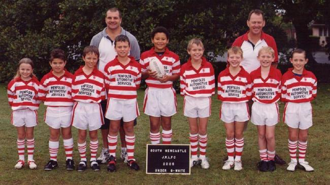 Ben Simmons (with ball) playing rugby league for South Newcastle under-9s in 2005