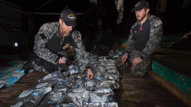 The Australian Navy seized 414kg of heroin before dumping the drugs at sea. Picture: Australian Navy