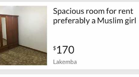 An ad posted to gumtree seeking a Muslim girl.