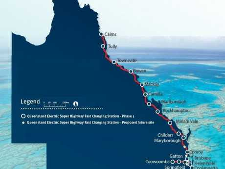 A map of the Queensland Electric Super Highway.