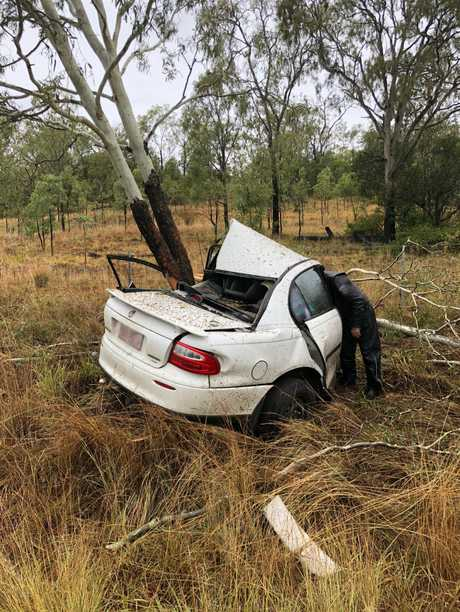 A car crashed into a gum tree on the Toowoomba Karara Road on Saturday.