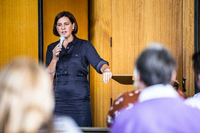 DISCUSSIONS: Leader of the Opposition Deb Frecklington discusses the effects of methylamphetamines at a community forum in Toowoomba.