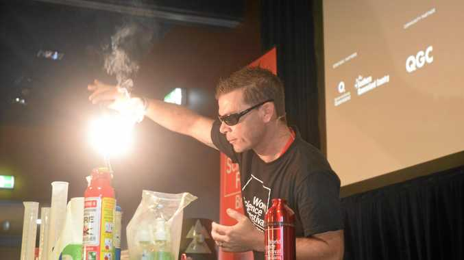 BRIGHT SPARK: Steve Liddell presents Street Science at World Science Festival Brisbane in Chinchilla last year.