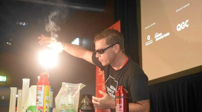 BRIGHT SPARK: Steve Liddell presents Street Science at World Science Festival Brisbane in Chinchilla last year.