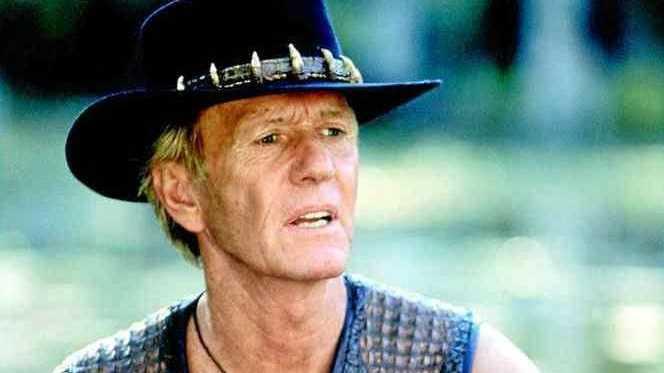 Australian actor Paul Hogan in scene from film Crocodile Dundee.