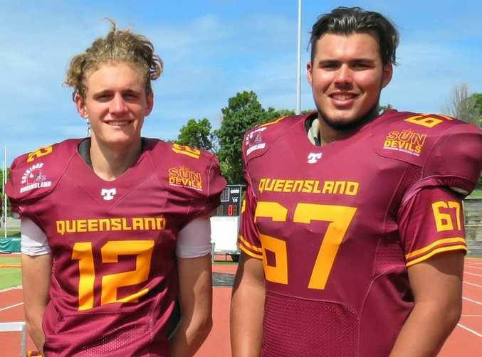 Toowoomba Valleys Vultures players Marty Edser and Ethan Herridge in their Queensland colours.