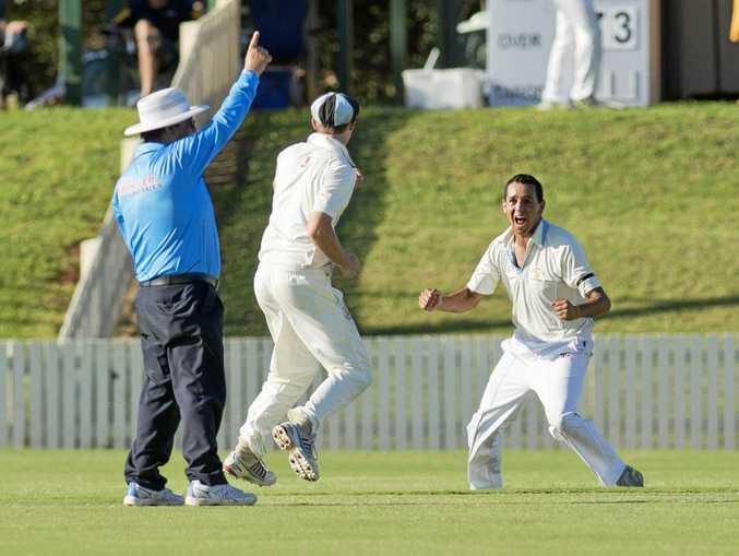 STATE SPOT: Wests Daley Martin celebrates claiming the wicket of Brodie Clews. Daley has been named in the Queensland side for the National Indigenous Cricket Championships this week.