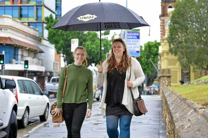 RAINY DAY: Jennifer O'Sullivan and Sam Hough met up for lunch in Ipswich on the weekend, not deterred by the rain.