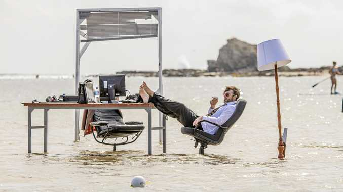 RISING TIDES: The Farm will be working from their office space in the middle of Currumbin estuary for 49 hours as part of their TIDE performance.
