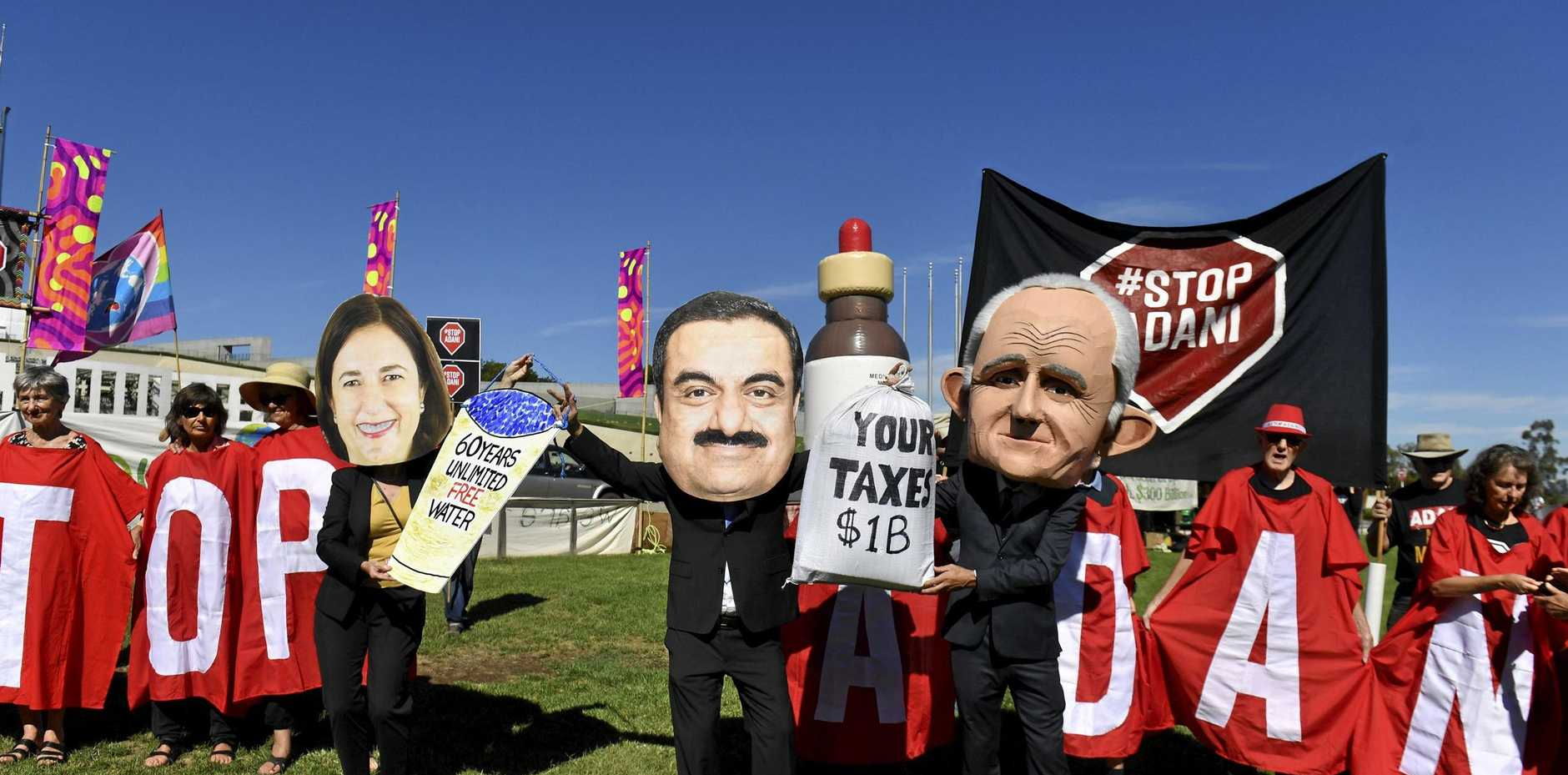 Queensland Premier Annastacia Palaszczuk, Adani chairman Gautam Adani and Prime Minister Malcolm Turnbull are targeted in Canberra.
