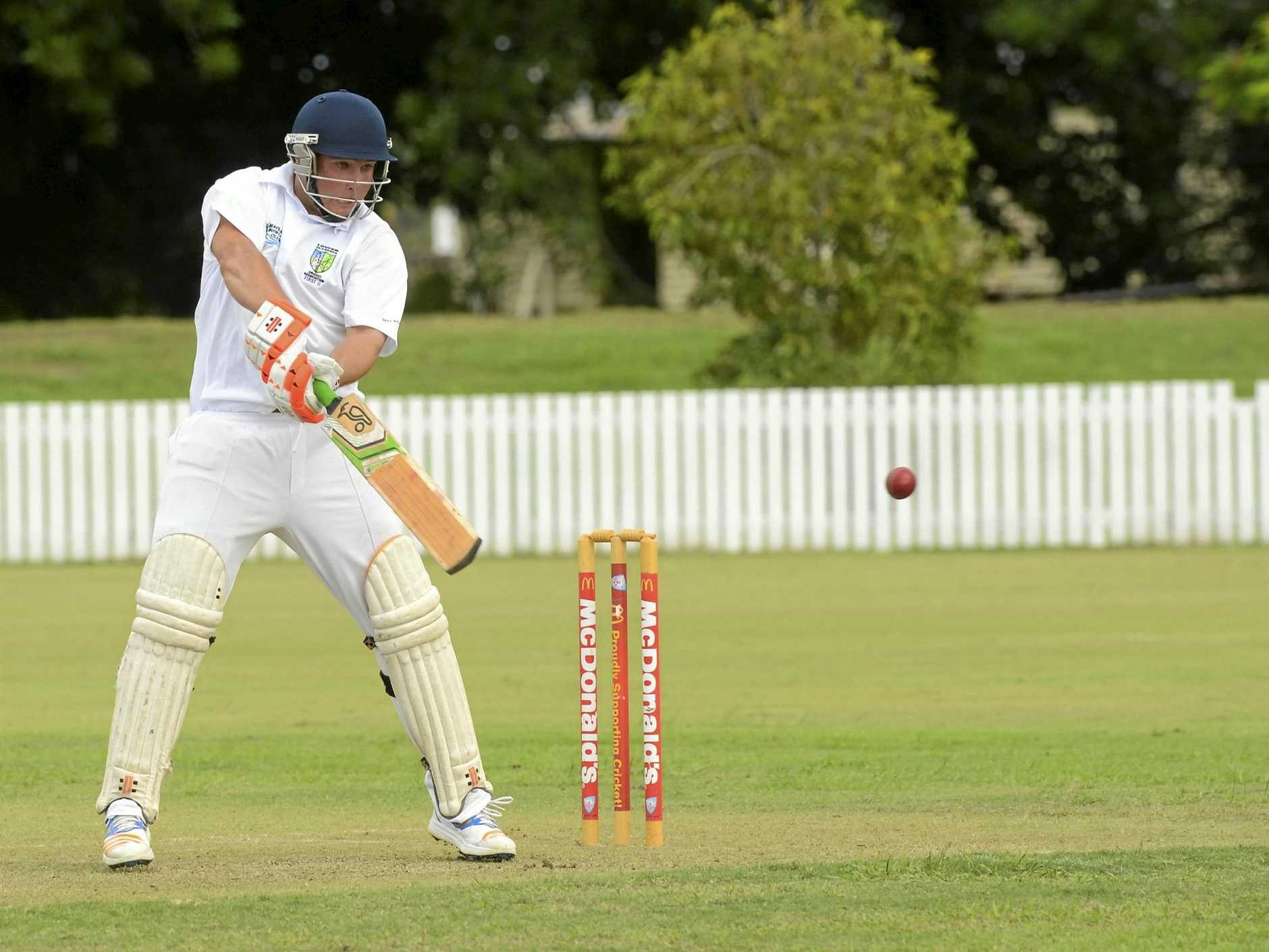 Jarrad Moran lays back into a strong cut shot through backward point during the North Coast Cricket Council interdistrict clash betwen Lower Clarence and Nambucca Valley at Harwood Oval.