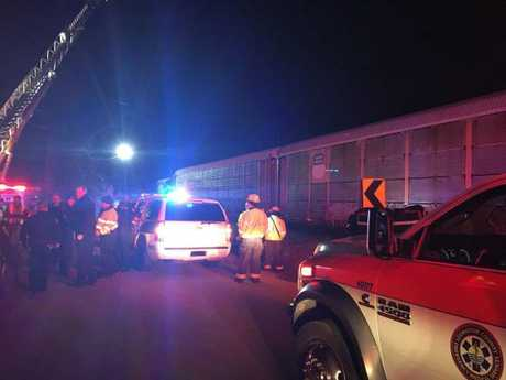Emergency crews attend the scene of the collision and derailment near Charleston Highway, South Carolina (Lexington Police Department)