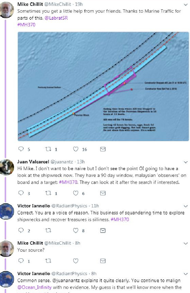 MH370 enthusiast Mike Chillit posted the position of the shipwreck S.V Inca vs. the last known position of Seabed Constructor before it turned off its radar. Picture: Twitter