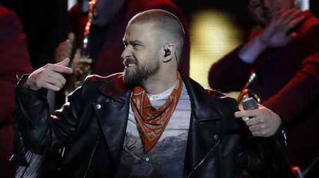 Justin Timberlake at the Super Bowl halftime show. AP