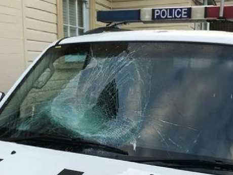 The damaged police vehicle. Picture: Supplied