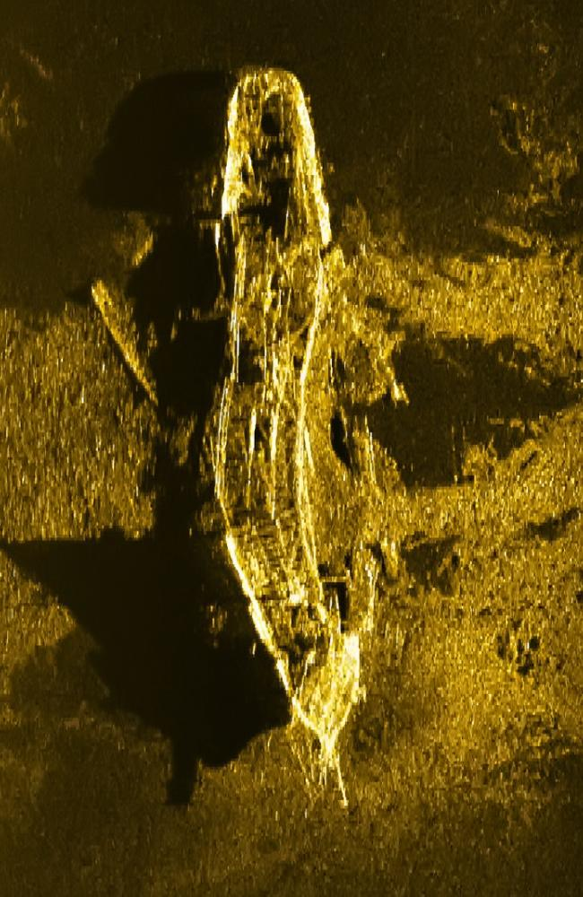 A sonar image of the shipwreck believed to be the S.V Inca, taken by MH370 search vessel Havila Harmony 3.7km deep in the southern Indian Ocean in 2016. Picture: ATSB.