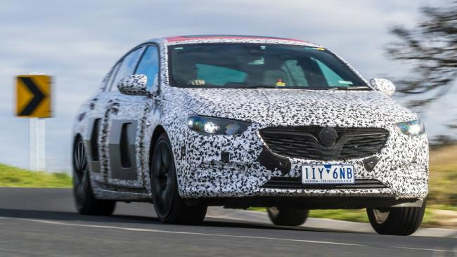 A camouflaged version of the 2018 Holden Commodore during testing on Australian roads before it arrives in showrooms. Picture: Supplied.