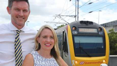 Qld government ministers Mark Bailey and Kate Jones discuss the Commonwealth Games transport plan at Robina Train Station after earlier unveiling the plans at CBUS Stadium. Picture Glenn Hampson