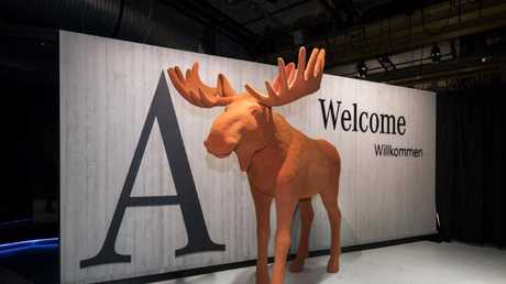 Wry reminder: Life-size orange elk greeting Benz's guests at the reveal in Amsterdam.