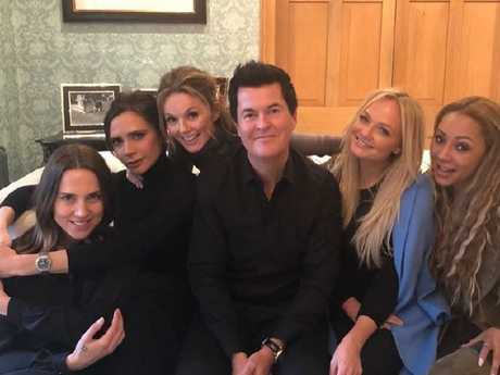 The Spice Girls reunited with former manager Simon Fuller, sending fans into a frenzy. Picture: Instagram @victoriabeckham