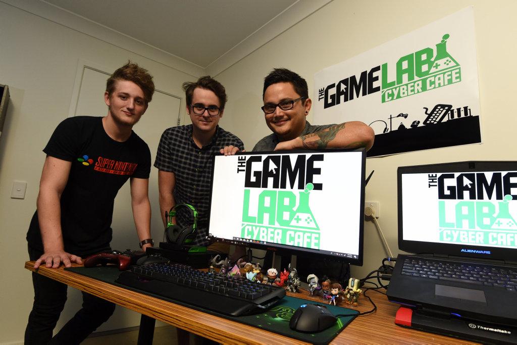 The Game Lab + Cyber Cafe - (L) Brody Papavasiliou, Chris Shanahan and Dean Possumah.