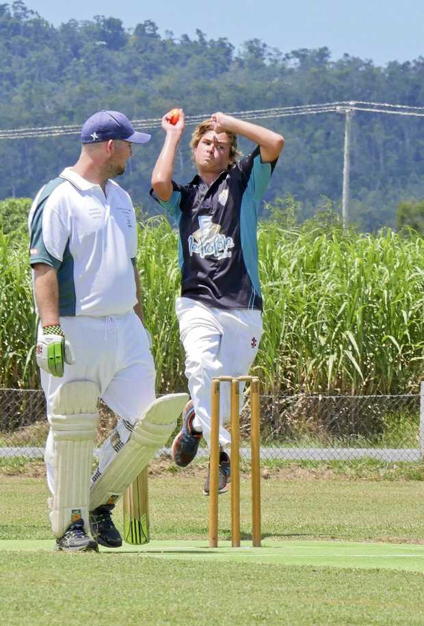 PACE MAN: Matt Shoebridge approaches the crease at Proserpine Cricket Grounds on Saturday.