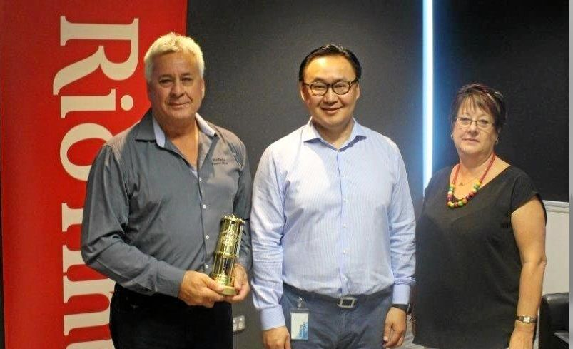 Coles Klease with his wife Jan and the Rio Tinto Chief executive, Energy & Minerals  Bold Baatar