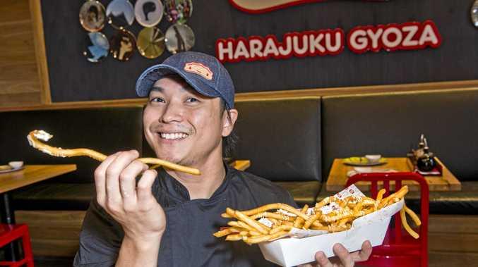 LONG LUNCH: Yoshiki Sadahisa, head chef at Harajuku Gyoza with crispy foot long fries. Tuesday, 6th Feb, 2018.