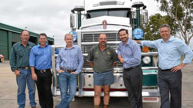 ON THE ROAD: Frasers fleet manager Mark Collins, Brown and Hurley Kyogle dealer principal Scott Walters, Paccar Australia area service manager Paul Budgen, long-time Frasers driver Keith Briggs, Paccar Australia chief engineer Damien Smethurst and Kenworth Australia national sales manager David Harmsworth.