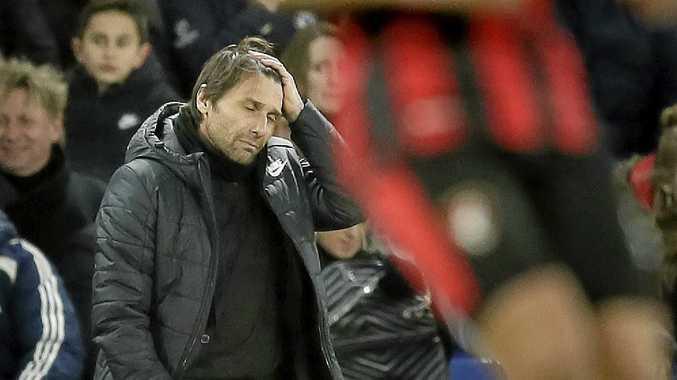 Antonio Conte reacts during Chelsea's English Premier League loss.