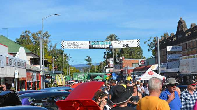 ATTRACTION: People filled Patrick St in Laidley for the 2017 Chrome and Clutter Retro Festival.